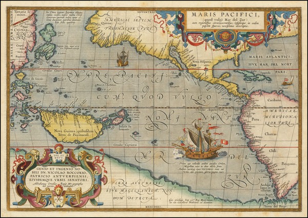 70-Western Hemisphere, Polar Maps, Japan, Pacific, Australia and America Map By Abraham Ortelius