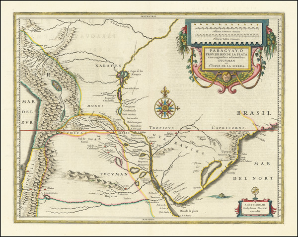 42-Paraguay & Bolivia Map By Willem Janszoon Blaeu
