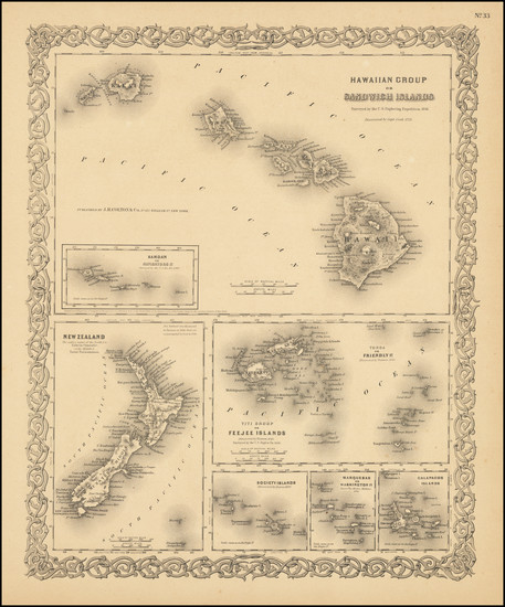 91-Hawaii and Hawaii Map By Joseph Hutchins Colton