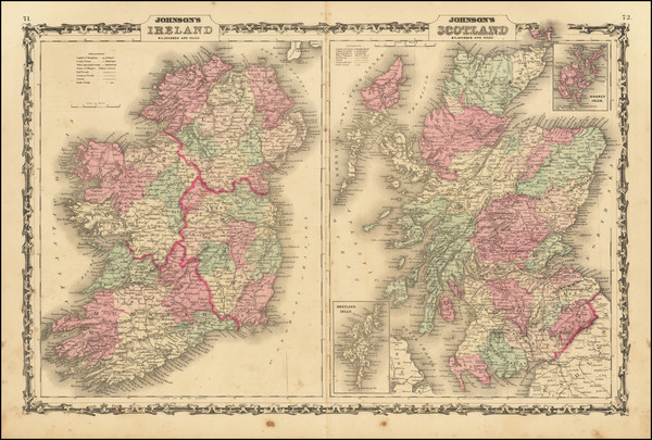 75-Scotland and Ireland Map By Alvin Jewett Johnson  &  Benjamin P Ward