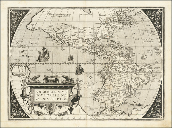 28-Western Hemisphere and America Map By Abraham Ortelius