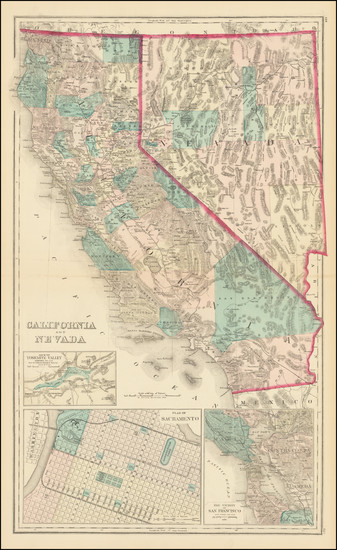 76-Nevada, California and Yosemite Map By O.W. Gray & Son