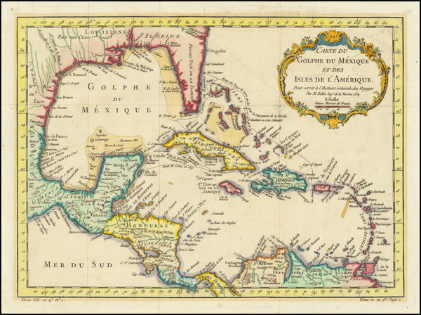 54-Southeast, Caribbean and Central America Map By Jacques Nicolas Bellin