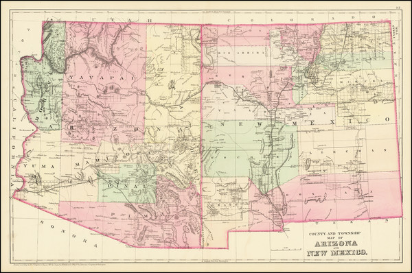 79-Arizona and New Mexico Map By Samuel Augustus Mitchell Jr.
