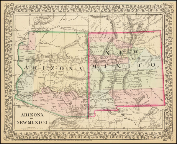 16-Arizona and New Mexico Map By Samuel Augustus Mitchell Jr.
