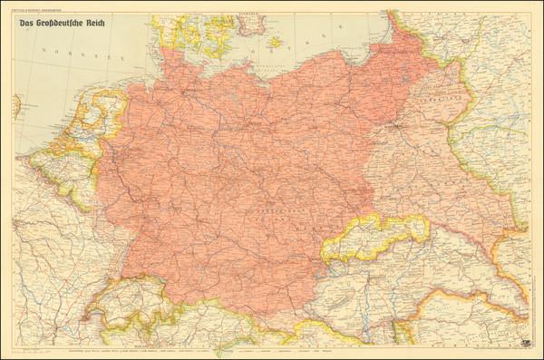 52-Germany, Poland and World War II Map By Artaria & Co.  &  Freytag & Berndt