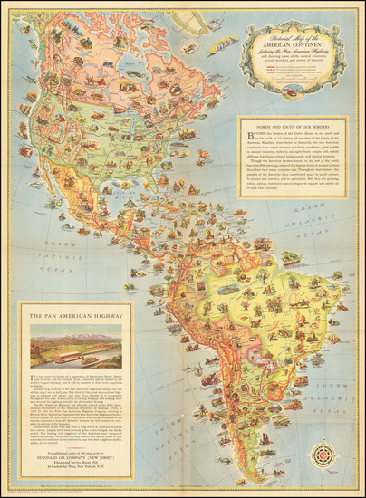 73-North America, South America and Pictorial Maps Map By Standard Oil Company