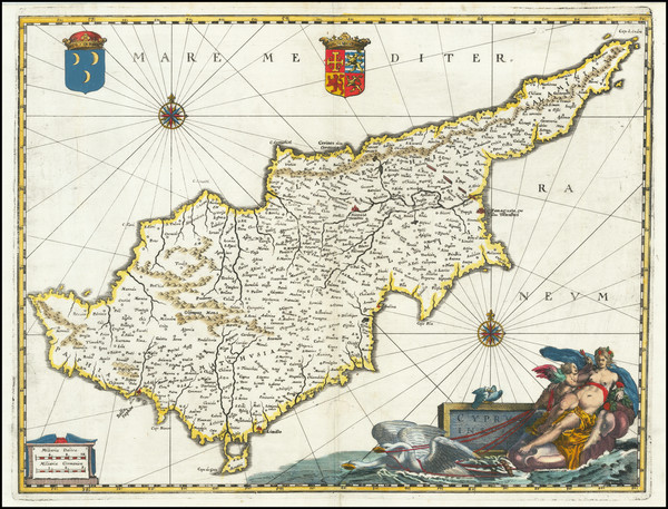 39-Cyprus Map By Matthaeus Merian
