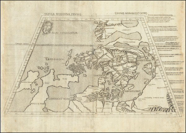 28-British Isles, Germany, Poland, Scandinavia, Iceland and Denmark Map By Claudius Ptolemy