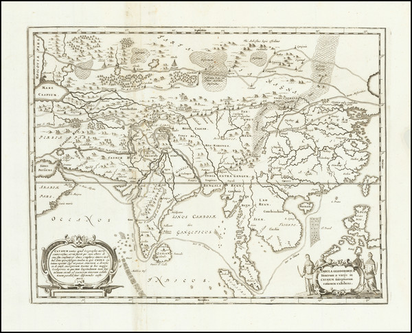 37-Asia, China and India Map By Athanasius Kircher