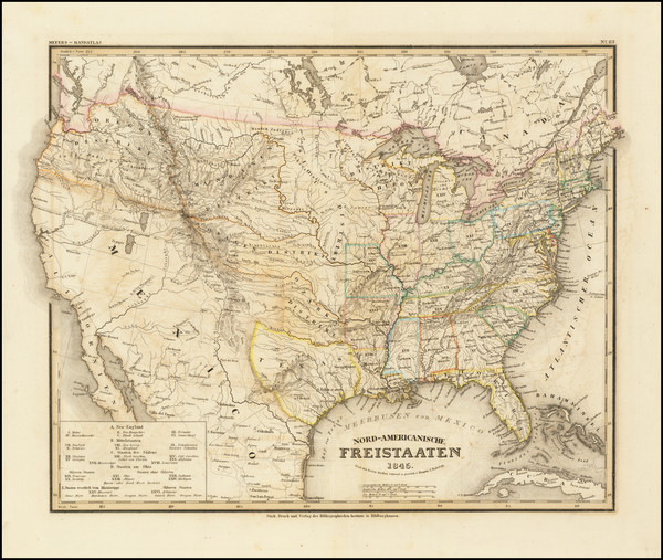 100-United States and Texas Map By Joseph Meyer