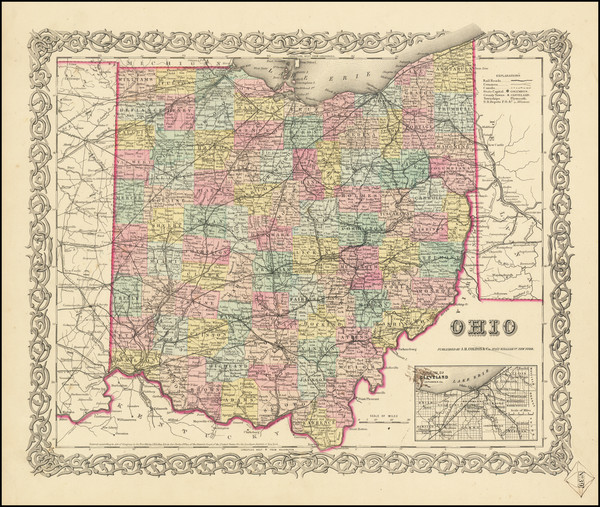 4-Ohio Map By Joseph Hutchins Colton