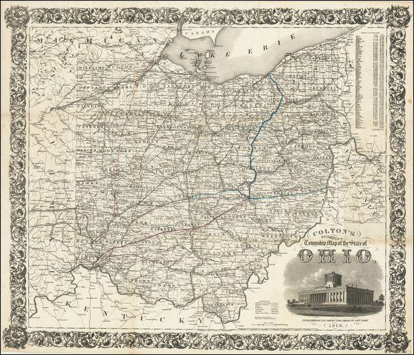 25-Ohio Map By Joseph Hutchins Colton
