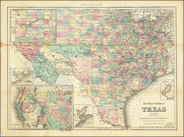 35-Texas Map By G.W.  & C.B. Colton / Albert Hanford