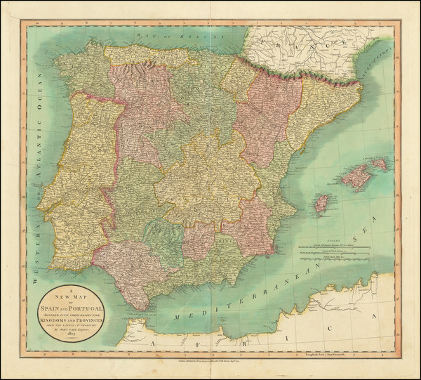 36-Spain and Portugal Map By John Cary