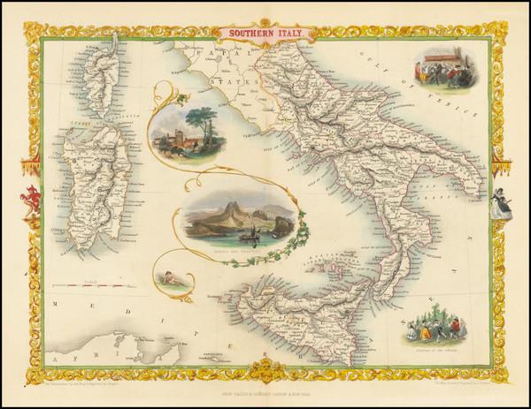 94-Southern Italy, Corsica, Sardinia and Sicily Map By John Tallis