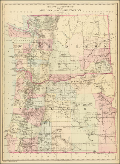 35-Oregon and Washington Map By Samuel Augustus Mitchell Jr.
