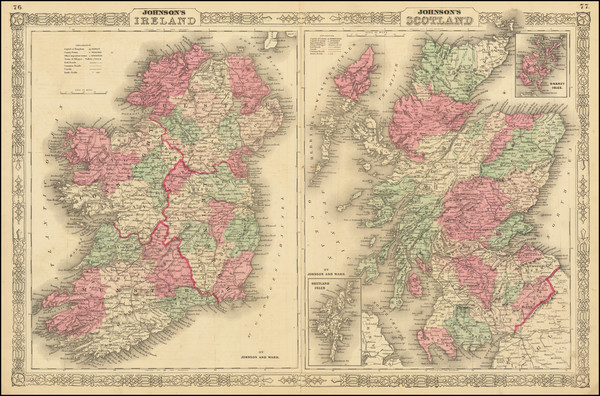 98-Scotland and Ireland Map By Alvin Jewett Johnson  &  Benjamin P Ward