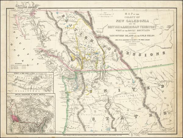 91-Idaho, Oregon, Washington, Western Canada and British Columbia Map By James Wyld