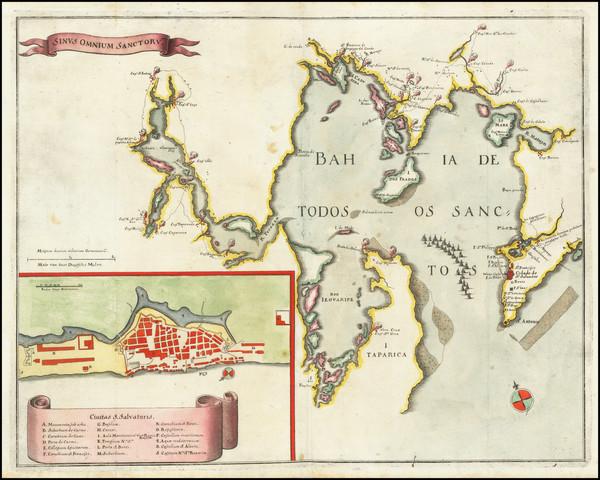 60-Brazil Map By Matthaus Merian
