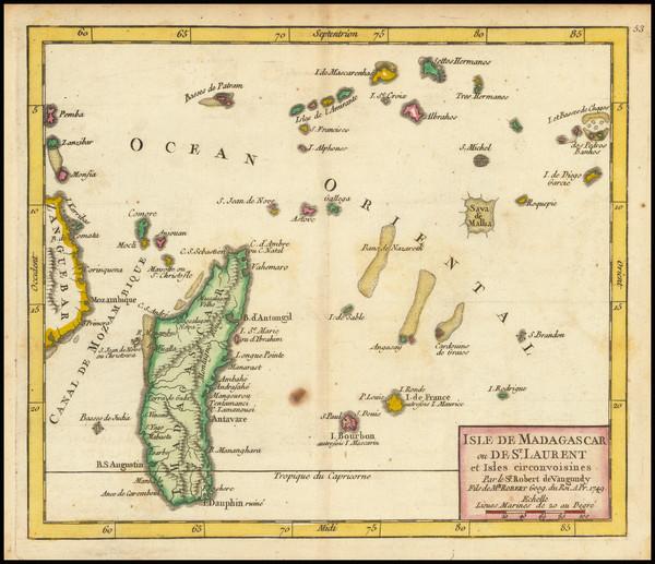 53-African Islands, including Madagascar Map By Gilles Robert de Vaugondy