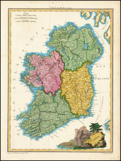 80-Ireland Map By Conrad Malte-Brun / Jean Baptiste Pierre Tardieu