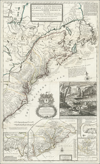 73-United States, New England, Mid-Atlantic and Southeast Map By Herman Moll