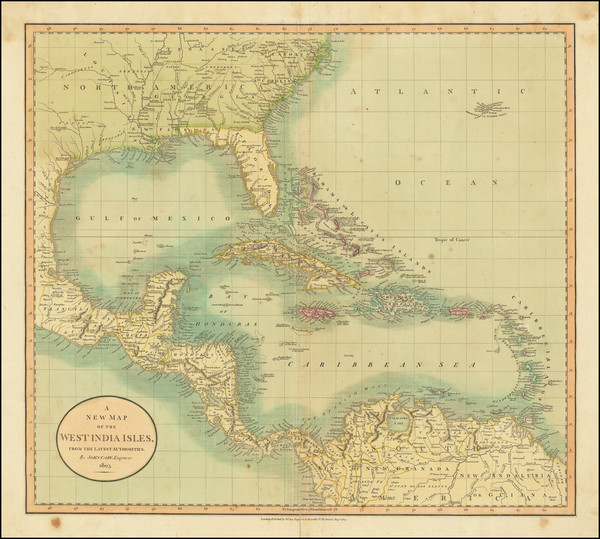 35-Florida, South, Southeast and Caribbean Map By John Cary