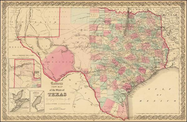 74-Texas Map By Joseph Hutchins Colton