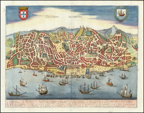 76-Portugal Map By Matthaus Merian