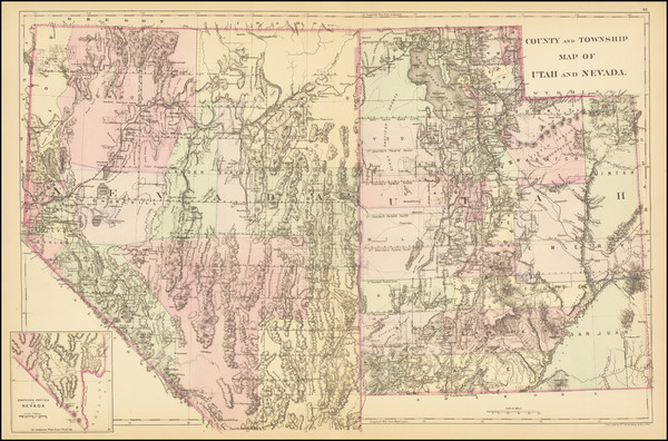 26-Utah, Nevada and Utah Map By Samuel Augustus Mitchell Jr. / William Bradley