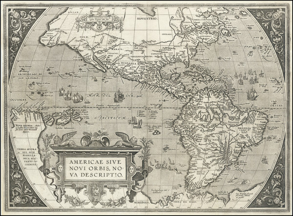 80-Western Hemisphere, North America and South America Map By Abraham Ortelius