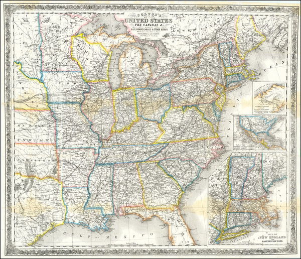 8-United States and Canada Map By Joseph Hutchins Colton