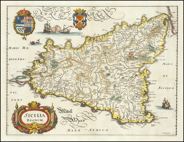 40-Sicily Map By Matthaeus Merian