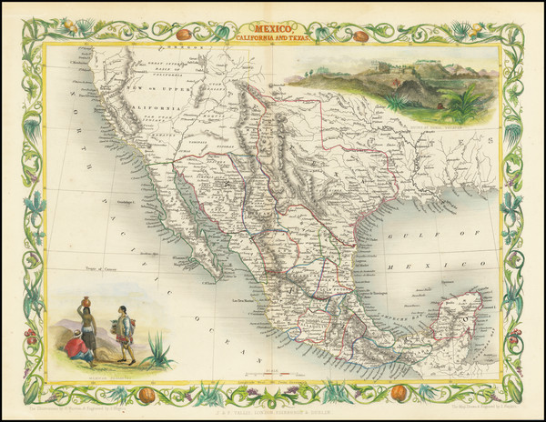 42-Texas, Southwest, Rocky Mountains, Mexico and California Map By John Tallis