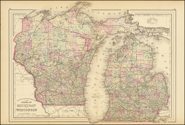 49-Michigan and Wisconsin Map By Samuel Augustus Mitchell Jr.