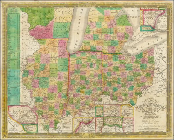 14-Midwest, Illinois, Indiana, Ohio, Michigan and Wisconsin Map By J.H. Young / S. Dutton