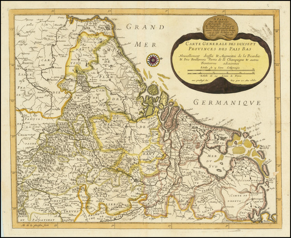 47-Netherlands and Belgium Map By Melchior Tavernier