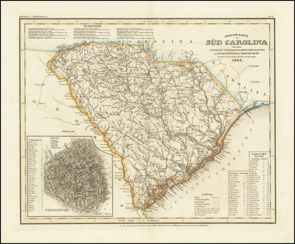 65-South Carolina Map By Joseph Meyer  &  Carl Radefeld