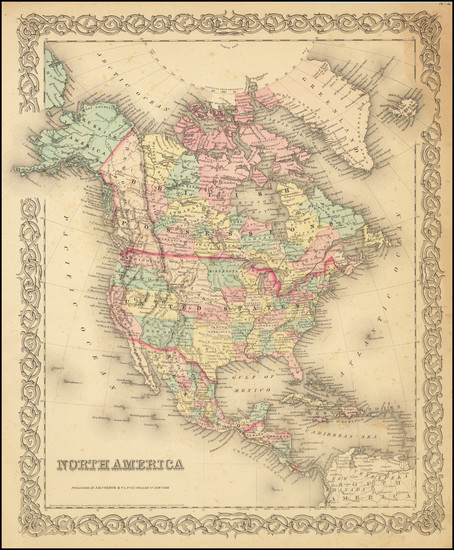 13-North America Map By Joseph Hutchins Colton