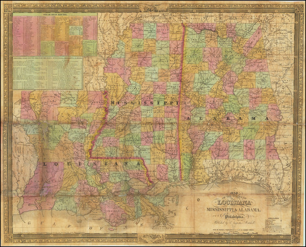 28-Louisiana, Alabama and Mississippi Map By Samuel Augustus Mitchell