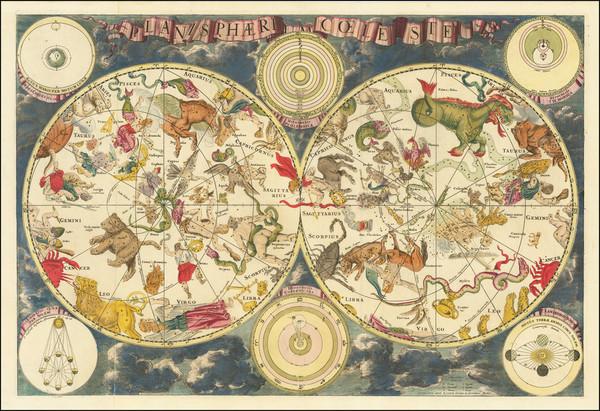 42-Celestial Maps Map By Johannes Covens  &  Cornelis Mortier