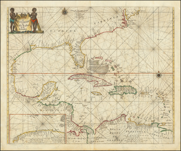 64-Florida, Southeast, Mexico and Caribbean Map By Pieter Goos