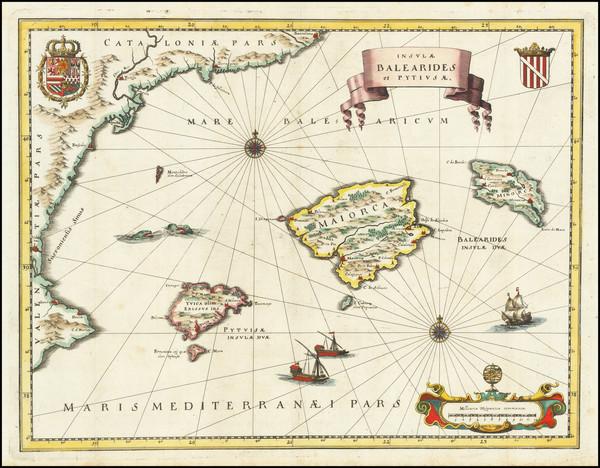 4-Balearic Islands Map By Matthaus Merian