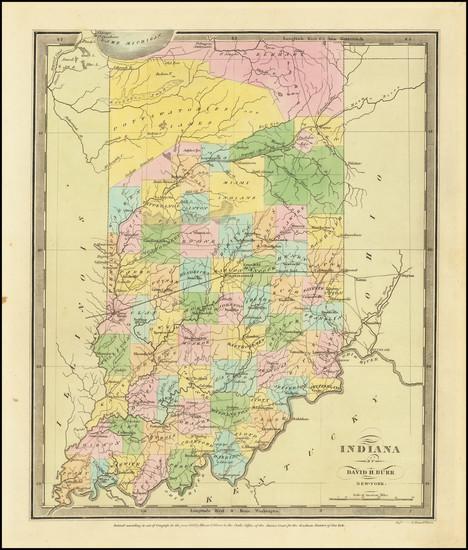 28-Indiana Map By David Hugh Burr