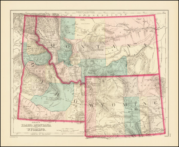 80-Idaho, Montana and Wyoming Map By O.W. Gray