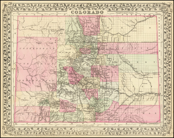 24-Oklahoma & Indian Territory, Colorado and Colorado Map By Samuel Augustus Mitchell Jr.