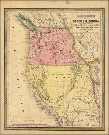 40-Southwest, Rocky Mountains, Oregon and California Map By Samuel Augustus Mitchell