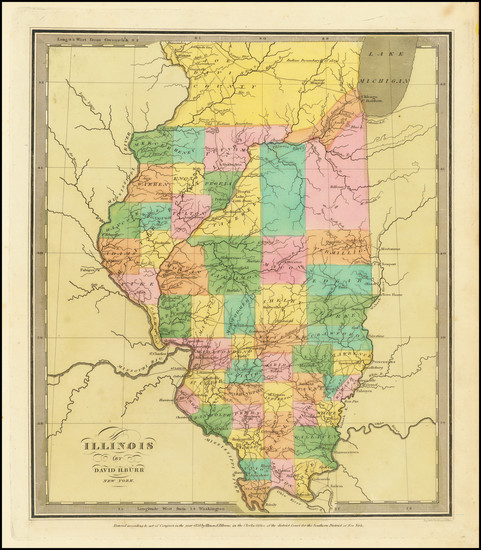 26-Illinois Map By David Hugh Burr