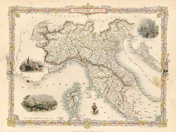 25-Europe, Italy, Mediterranean and Balearic Islands Map By John Tallis